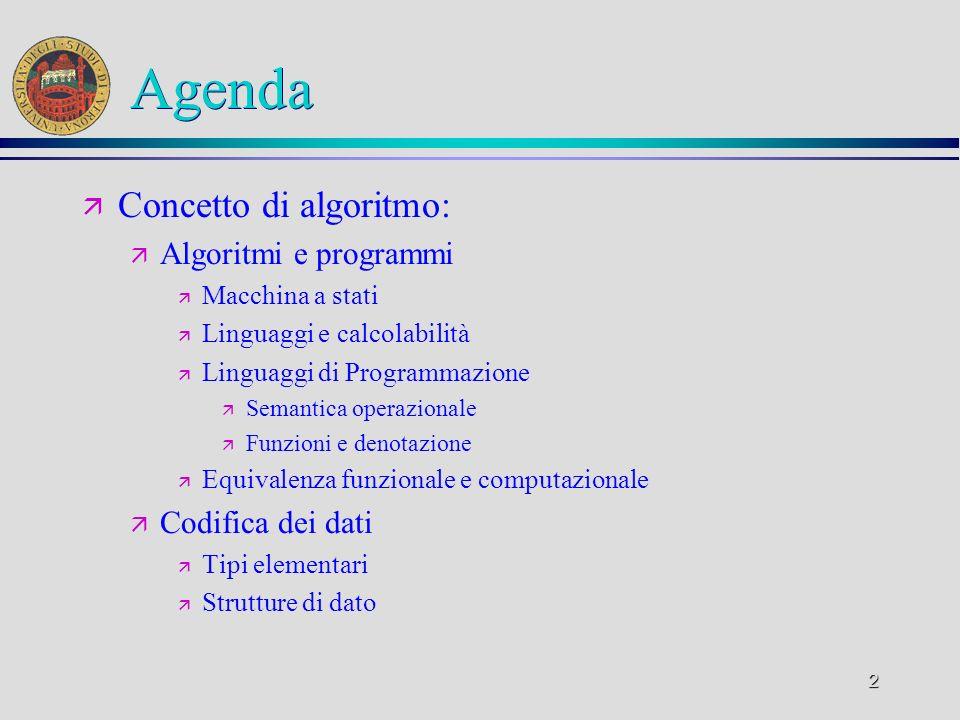 2 Agenda ä Concetto di algoritmo: ä Algoritmi e programmi ä Macchina a stati ä Linguaggi e calcolabilità ä Linguaggi di Programmazione ä Semantica operazionale ä Funzioni e denotazione ä Equivalenza funzionale e computazionale ä Codifica dei dati ä Tipi elementari ä Strutture di dato