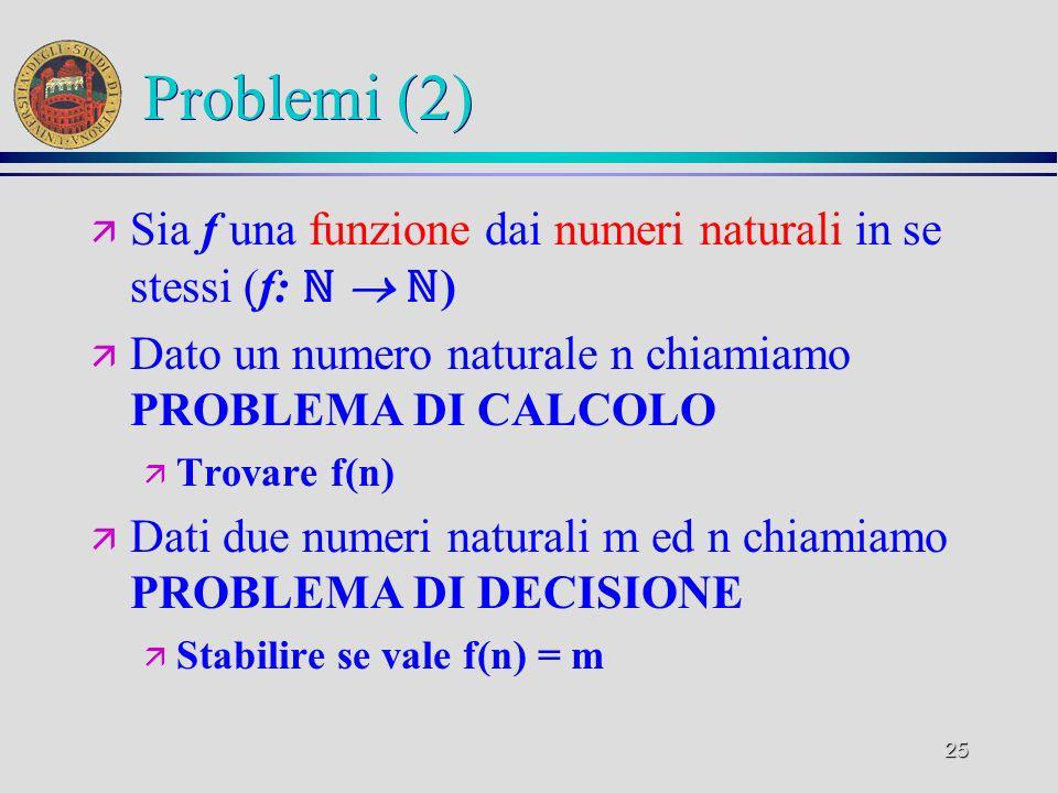 25 Problemi (2) ä Sia f una funzione dai numeri naturali in se stessi (f: ) ä Dato un numero naturale n chiamiamo PROBLEMA DI CALCOLO ä Trovare f(n) ä Dati due numeri naturali m ed n chiamiamo PROBLEMA DI DECISIONE ä Stabilire se vale f(n) = m