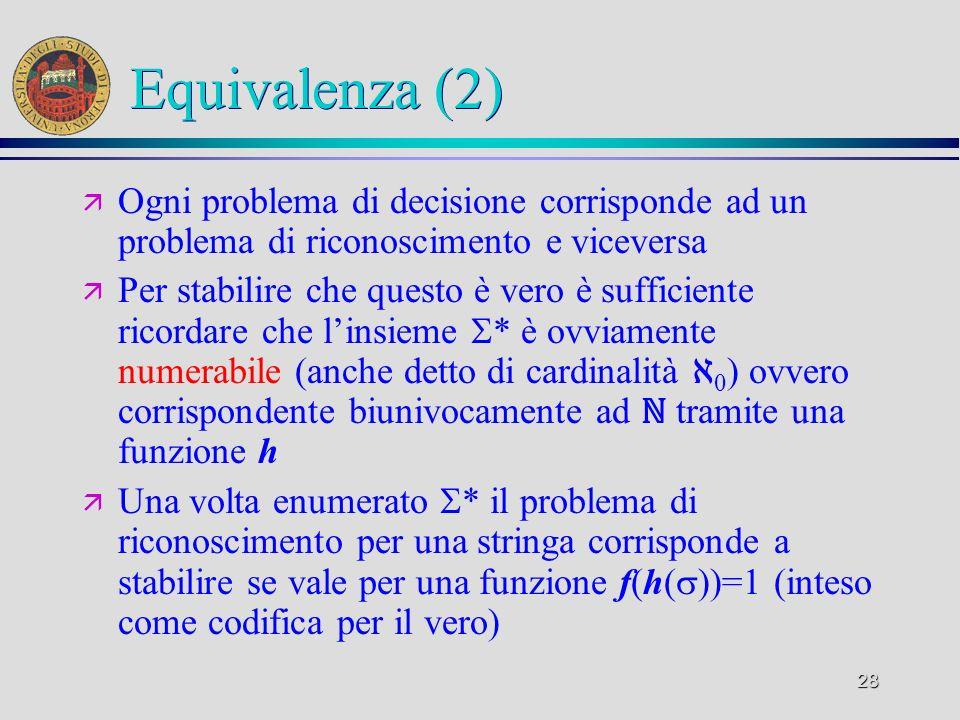 28 Equivalenza (2) ä Ogni problema di decisione corrisponde ad un problema di riconoscimento e viceversa ä Per stabilire che questo è vero è sufficiente ricordare che linsieme * è ovviamente numerabile (anche detto di cardinalità 0 ) ovvero corrispondente biunivocamente ad tramite una funzione h ä Una volta enumerato * il problema di riconoscimento per una stringa corrisponde a stabilire se vale per una funzione f(h( ))=1 (inteso come codifica per il vero)