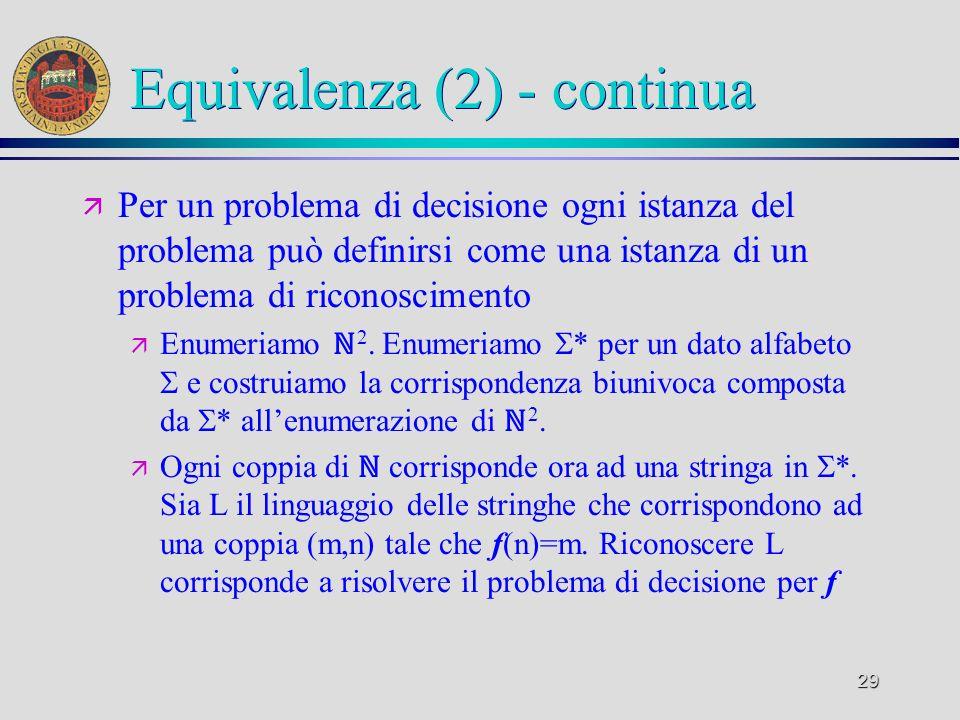 29 Equivalenza (2) - continua ä Per un problema di decisione ogni istanza del problema può definirsi come una istanza di un problema di riconoscimento ä Enumeriamo 2.