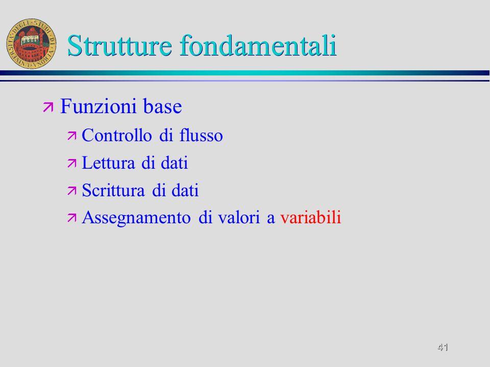 41 Strutture fondamentali ä Funzioni base ä Controllo di flusso ä Lettura di dati ä Scrittura di dati ä Assegnamento di valori a variabili