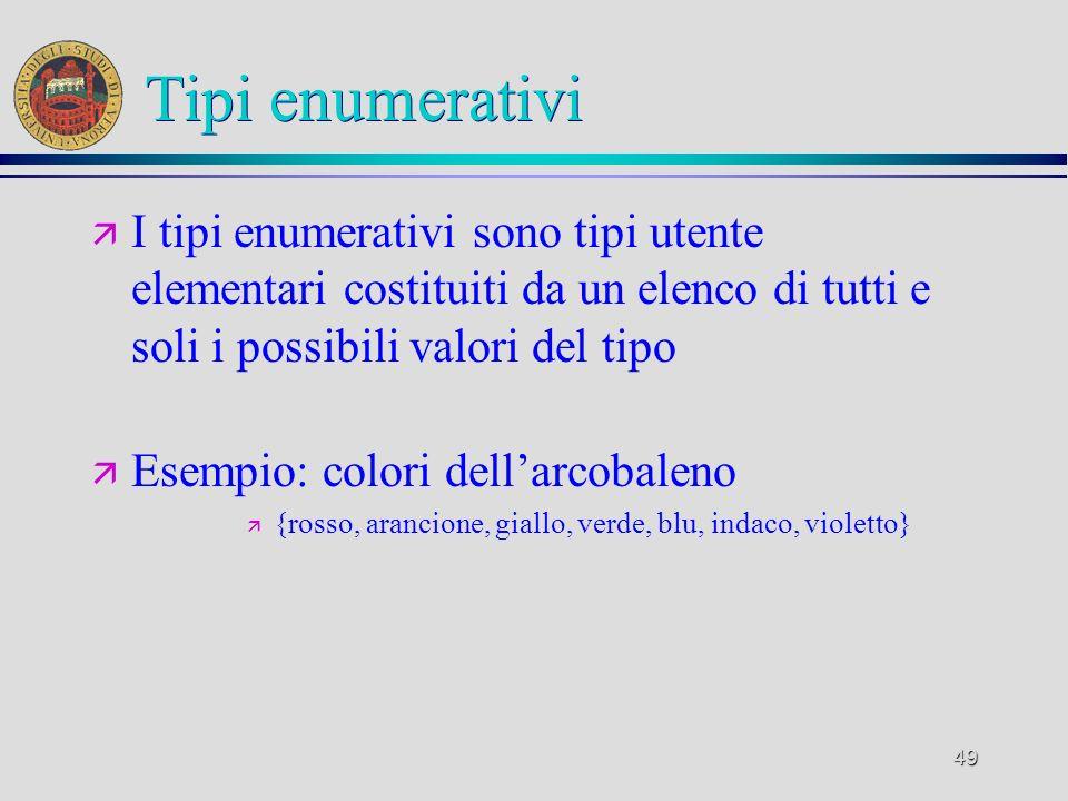 49 Tipi enumerativi ä I tipi enumerativi sono tipi utente elementari costituiti da un elenco di tutti e soli i possibili valori del tipo ä Esempio: colori dellarcobaleno ä {rosso, arancione, giallo, verde, blu, indaco, violetto}