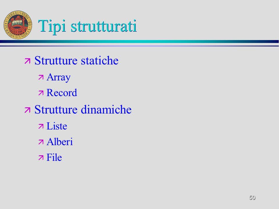 50 Tipi strutturati ä Strutture statiche ä Array ä Record ä Strutture dinamiche ä Liste ä Alberi ä File