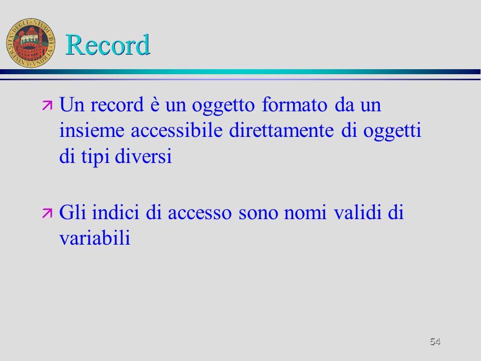 54 Record ä Un record è un oggetto formato da un insieme accessibile direttamente di oggetti di tipi diversi ä Gli indici di accesso sono nomi validi di variabili