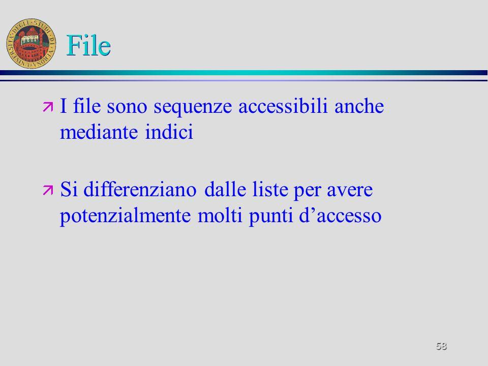 58 File ä I file sono sequenze accessibili anche mediante indici ä Si differenziano dalle liste per avere potenzialmente molti punti daccesso