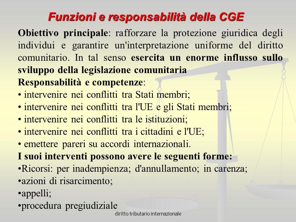 diritto tributario internazionale Funzioni e responsabilità della CGE Obiettivo principale: rafforzare la protezione giuridica degli individui e garan