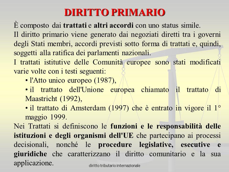 diritto tributario internazionale DIRITTO PRIMARIO È composto dai trattati e altri accordi con uno status simile. Il diritto primario viene generato d