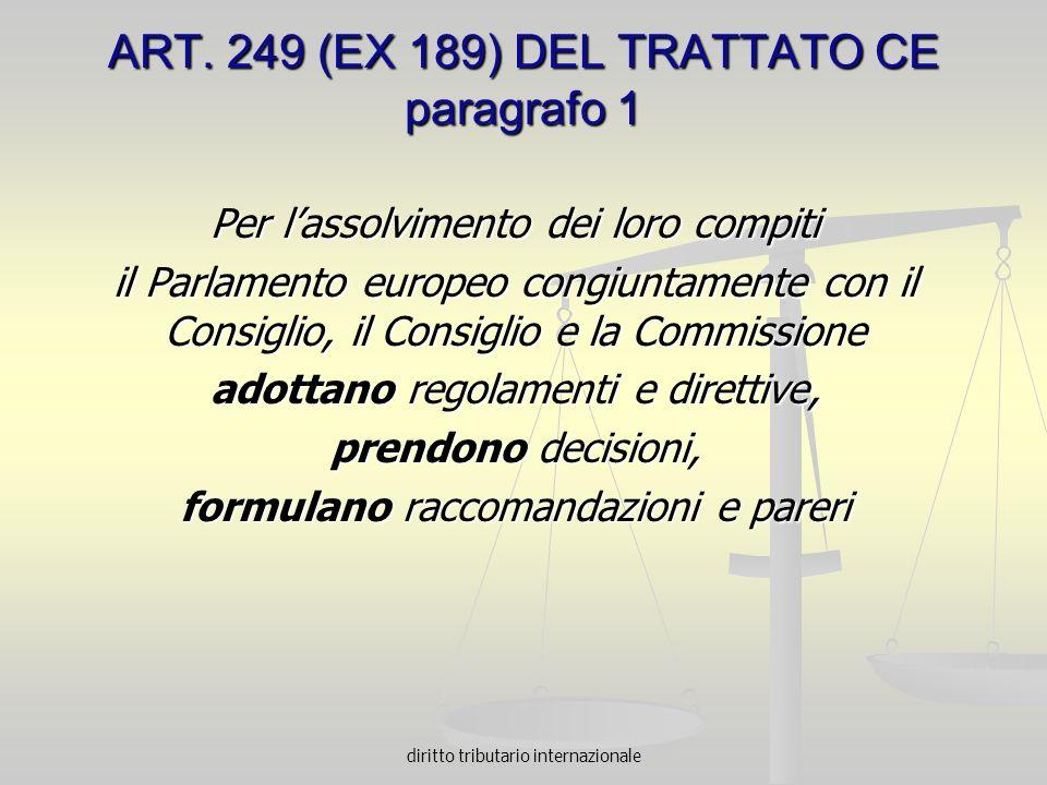 diritto tributario internazionale ART. 249 (EX 189) DEL TRATTATO CE paragrafo 1 Per lassolvimento dei loro compiti il Parlamento europeo congiuntament