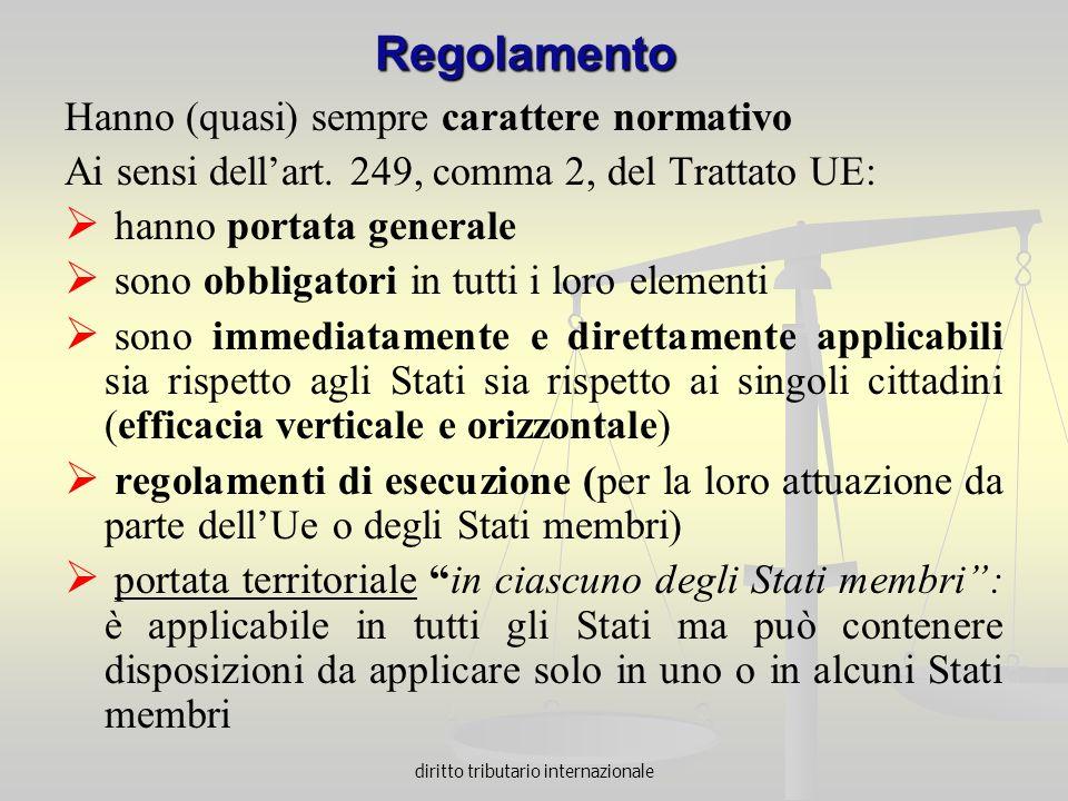 diritto tributario internazionale Regolamento Hanno (quasi) sempre carattere normativo Ai sensi dellart. 249, comma 2, del Trattato UE: hanno portata
