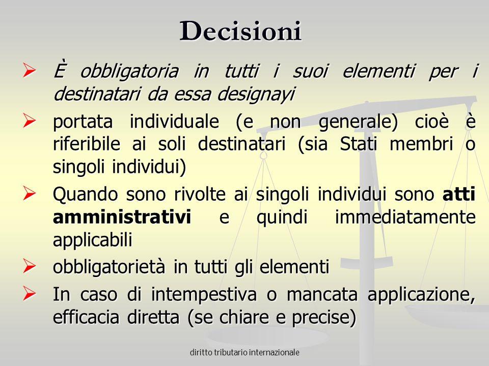 diritto tributario internazionale Decisioni È obbligatoria in tutti i suoi elementi per i destinatari da essa designayi È obbligatoria in tutti i suoi
