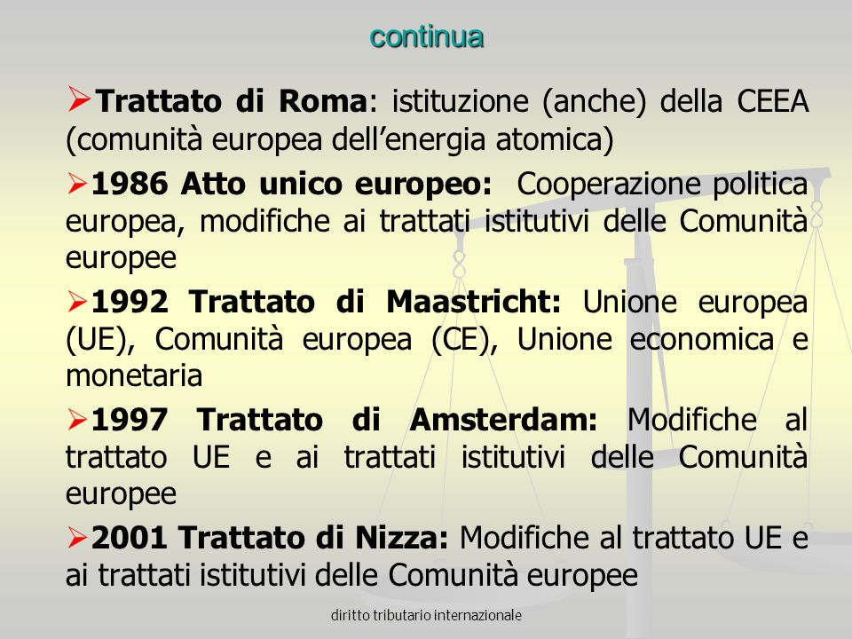 diritto tributario internazionale continua Trattato di Roma: istituzione (anche) della CEEA (comunità europea dellenergia atomica) 1986 Atto unico eur