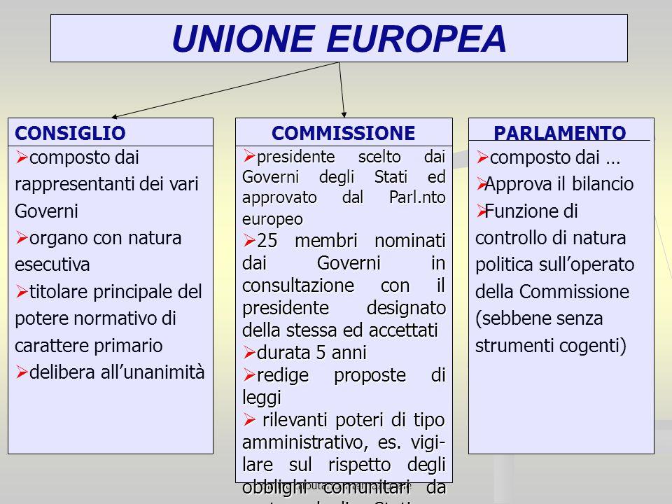 diritto tributario internazionale UNIONE EUROPEA CONSIGLIO composto dai rappresentanti dei vari Governi organo con natura esecutiva titolare principal