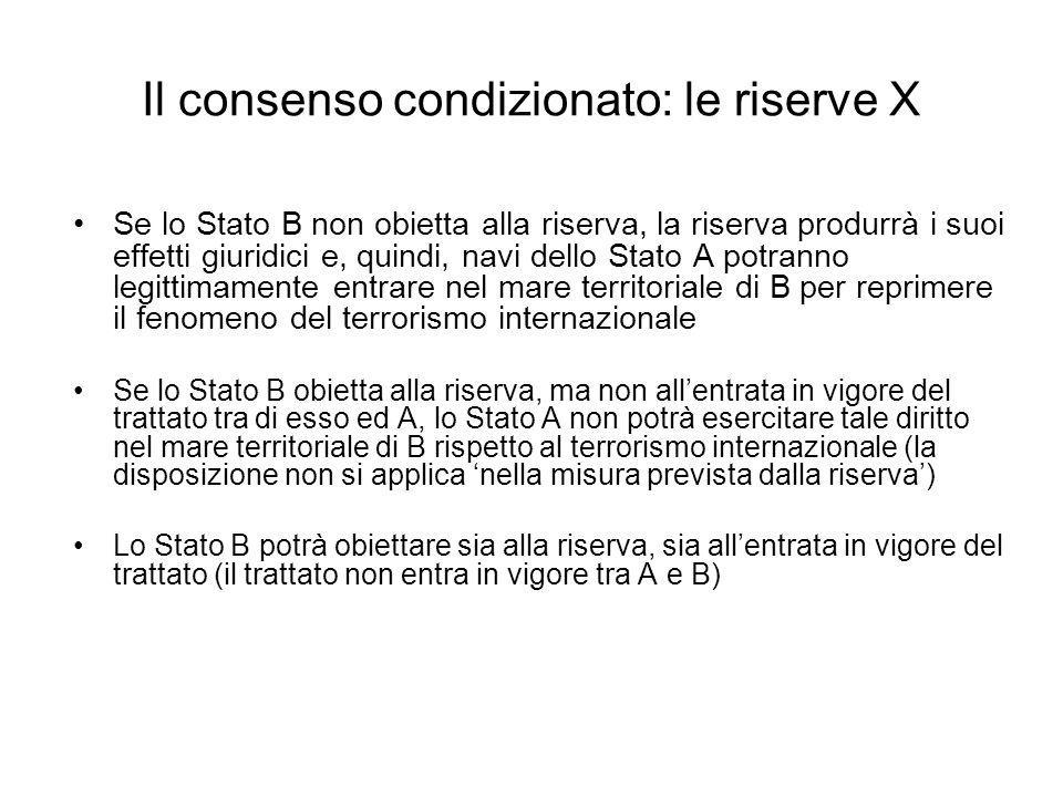 Il consenso condizionato: le riserve X Se lo Stato B non obietta alla riserva, la riserva produrrà i suoi effetti giuridici e, quindi, navi dello Stat