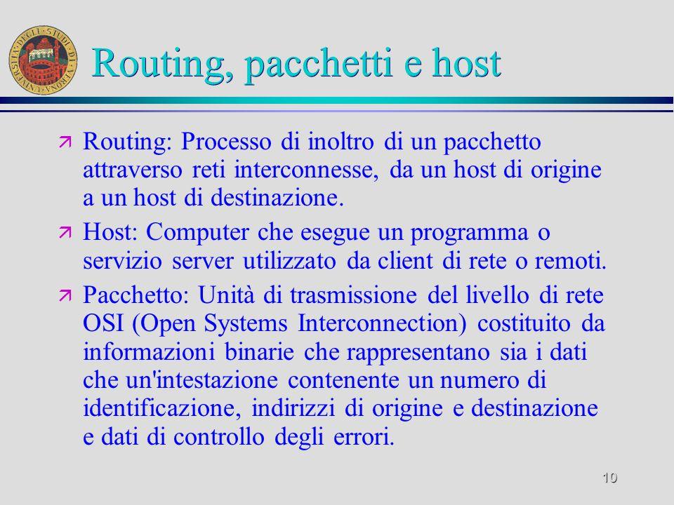 10 Routing, pacchetti e host ä Routing: Processo di inoltro di un pacchetto attraverso reti interconnesse, da un host di origine a un host di destinaz