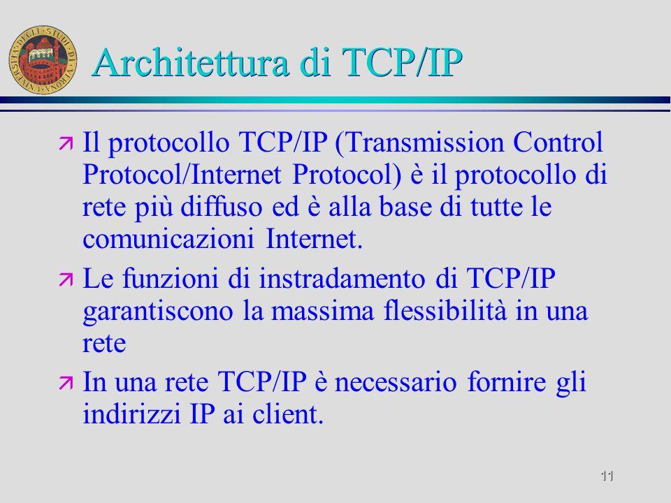 11 Architettura di TCP/IP ä Il protocollo TCP/IP (Transmission Control Protocol/Internet Protocol) è il protocollo di rete più diffuso ed è alla base