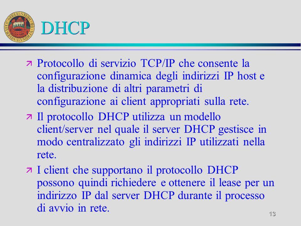 13 DHCP ä Protocollo di servizio TCP/IP che consente la configurazione dinamica degli indirizzi IP host e la distribuzione di altri parametri di confi