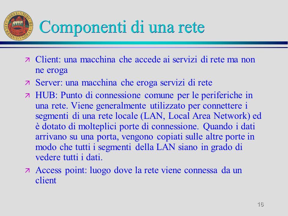 16 Componenti di una rete ä Client: una macchina che accede ai servizi di rete ma non ne eroga ä Server: una macchina che eroga servizi di rete ä HUB:
