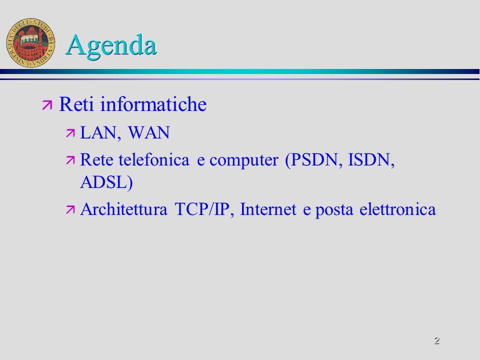 2 Agenda ä Reti informatiche ä LAN, WAN ä Rete telefonica e computer (PSDN, ISDN, ADSL) ä Architettura TCP/IP, Internet e posta elettronica