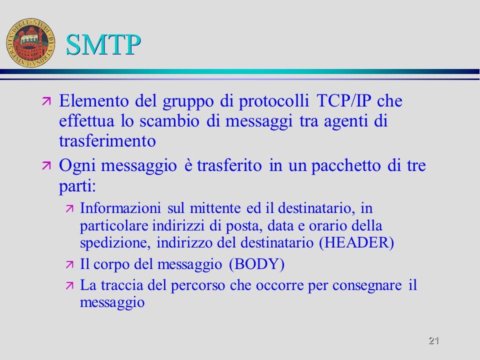 21 SMTP ä Elemento del gruppo di protocolli TCP/IP che effettua lo scambio di messaggi tra agenti di trasferimento ä Ogni messaggio è trasferito in un