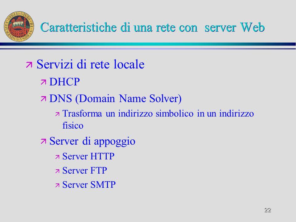 22 Caratteristiche di una rete con server Web ä Servizi di rete locale ä DHCP ä DNS (Domain Name Solver) ä Trasforma un indirizzo simbolico in un indi