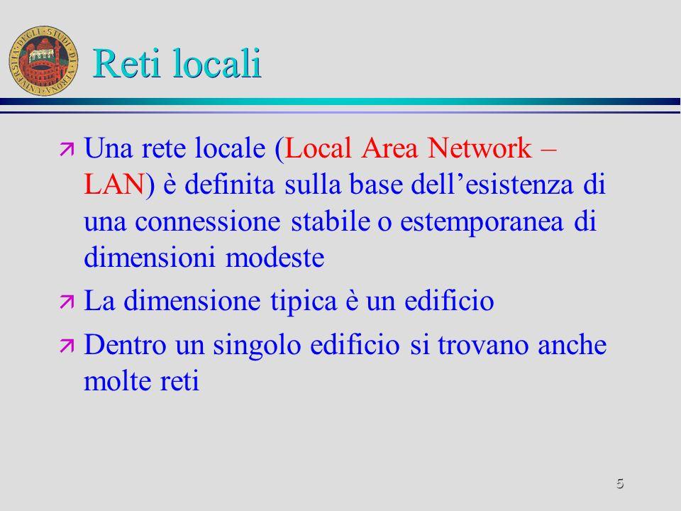 5 Reti locali ä Una rete locale (Local Area Network – LAN) è definita sulla base dellesistenza di una connessione stabile o estemporanea di dimensioni