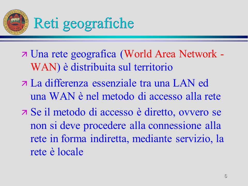 6 Reti geografiche ä Una rete geografica (World Area Network - WAN) è distribuita sul territorio ä La differenza essenziale tra una LAN ed una WAN è n