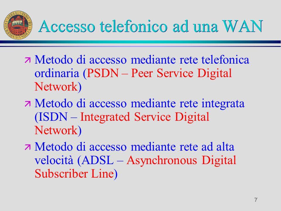 7 Accesso telefonico ad una WAN ä Metodo di accesso mediante rete telefonica ordinaria (PSDN – Peer Service Digital Network) ä Metodo di accesso media