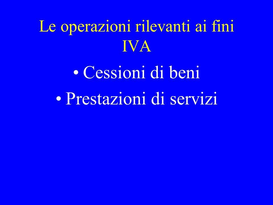 Le operazioni rilevanti ai fini IVA Cessioni di beni Prestazioni di servizi