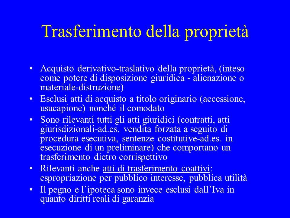 Trasferimento della proprietà Acquisto derivativo-traslativo della proprietà, (inteso come potere di disposizione giuridica - alienazione o materiale-