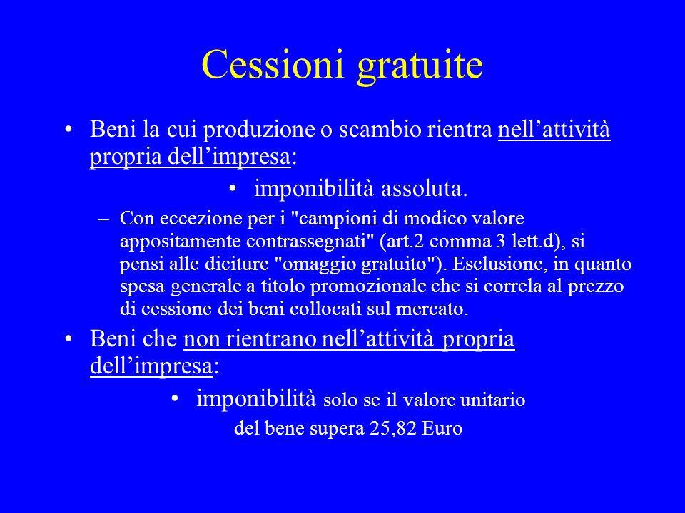 Cessioni gratuite Beni la cui produzione o scambio rientra nellattività propria dellimpresa: imponibilità assoluta. –Con eccezione per i