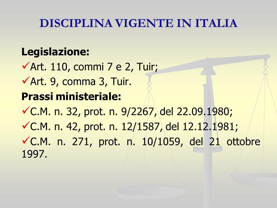DISCIPLINA VIGENTE IN ITALIA Legislazione: Art. 110, commi 7 e 2, Tuir; Art.