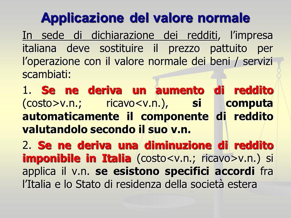 Applicazione del valore normale In sede di dichiarazione dei redditi, limpresa italiana deve sostituire il prezzo pattuito per loperazione con il valore normale dei beni / servizi scambiati: 1.