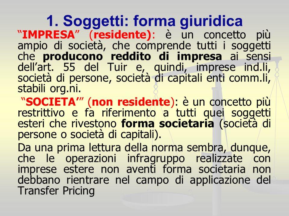 1. Soggetti: forma giuridica IMPRESA (residente): è un concetto più ampio di società, che comprende tutti i soggetti che producono reddito di impresa