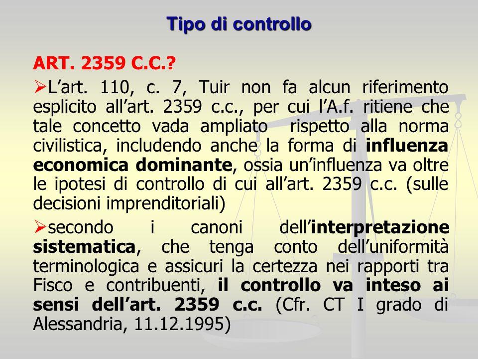 Tipo di controllo ART. 2359 C.C.. Lart. 110, c.