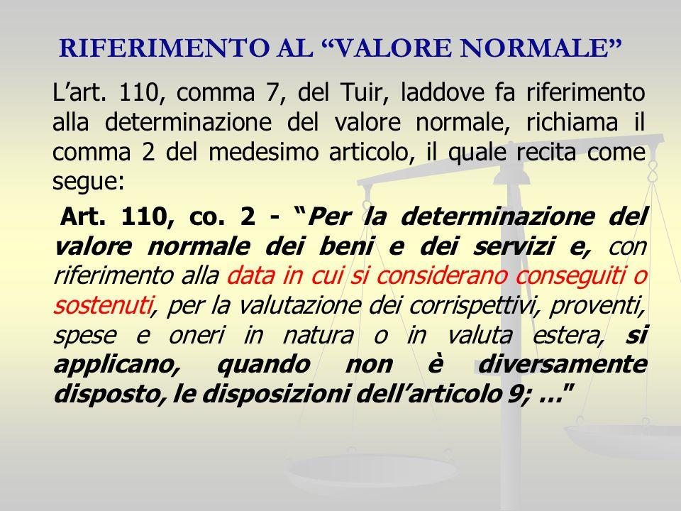 RIFERIMENTO AL VALORE NORMALE Lart.