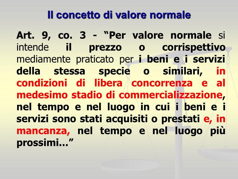 Il concetto di valore normale Art. 9, co.