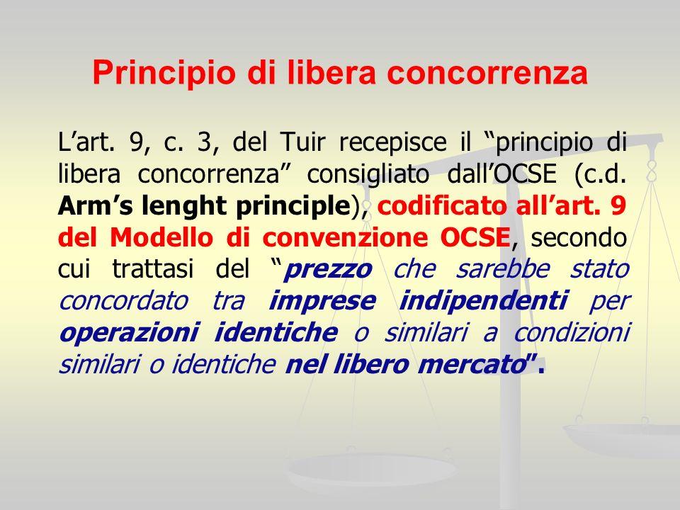 Principio di libera concorrenza Lart. 9, c.