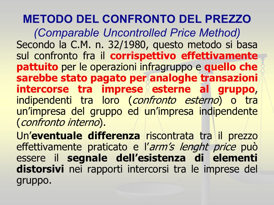 METODO DEL CONFRONTO DEL PREZZO (Comparable Uncontrolled Price Method) Secondo la C.M.