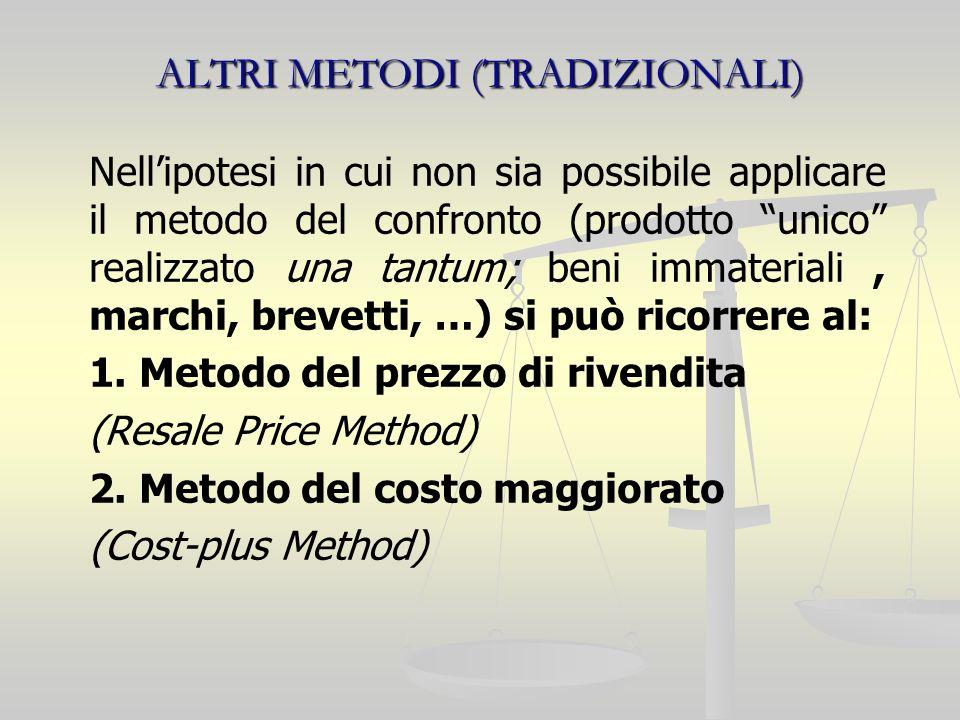 ALTRI METODI (TRADIZIONALI) Nellipotesi in cui non sia possibile applicare il metodo del confronto (prodotto unico realizzato una tantum; beni immateriali, marchi, brevetti, …) si può ricorrere al: 1.