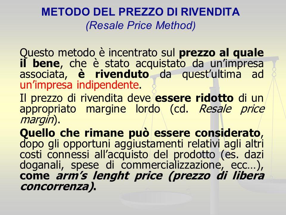 METODO DEL PREZZO DI RIVENDITA (Resale Price Method ) Questo metodo è incentrato sul prezzo al quale il bene, che è stato acquistato da unimpresa associata, è rivenduto da questultima ad unimpresa indipendente.