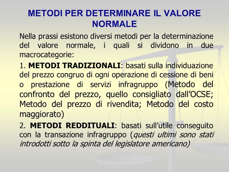 METODI PER DETERMINARE IL VALORE NORMALE Nella prassi esistono diversi metodi per la determinazione del valore normale, i quali si dividono in due macrocategorie: 1.