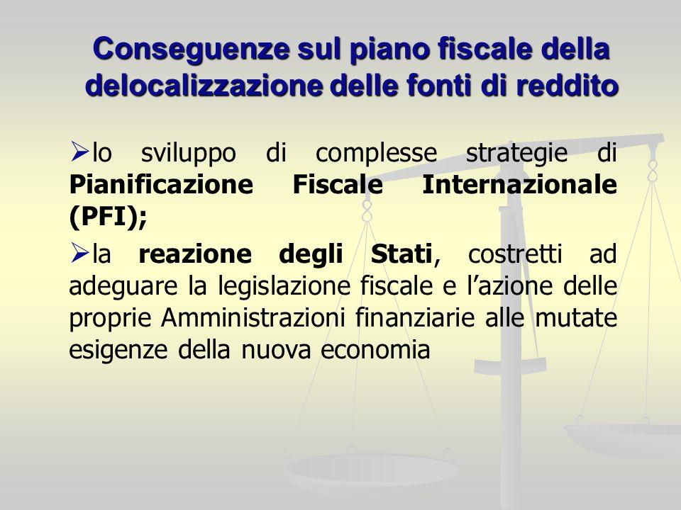 Conseguenze sul piano fiscale della delocalizzazione delle fonti di reddito lo sviluppo di complesse strategie di Pianificazione Fiscale Internazionale (PFI); la reazione degli Stati, costretti ad adeguare la legislazione fiscale e lazione delle proprie Amministrazioni finanziarie alle mutate esigenze della nuova economia