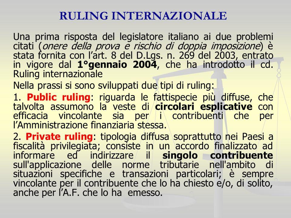 RULING INTERNAZIONALE Una prima risposta del legislatore italiano ai due problemi citati (onere della prova e rischio di doppia imposizione) è stata fornita con lart.