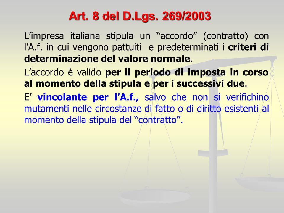 Art. 8 del D.Lgs. 269/2003 Limpresa italiana stipula un accordo (contratto) con lA.f.