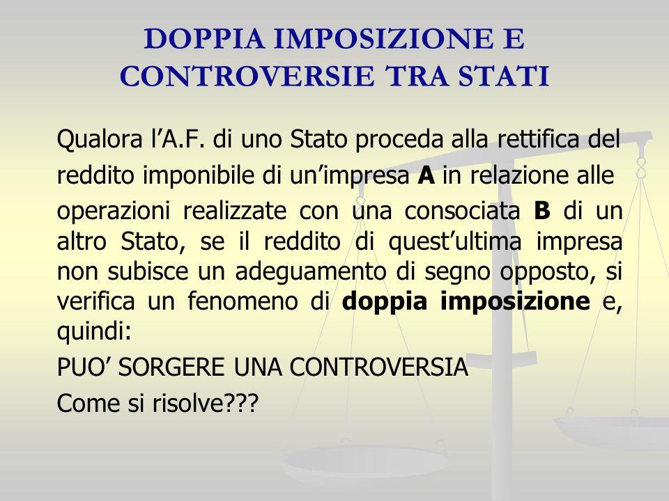 DOPPIA IMPOSIZIONE E CONTROVERSIE TRA STATI Qualora lA.F.