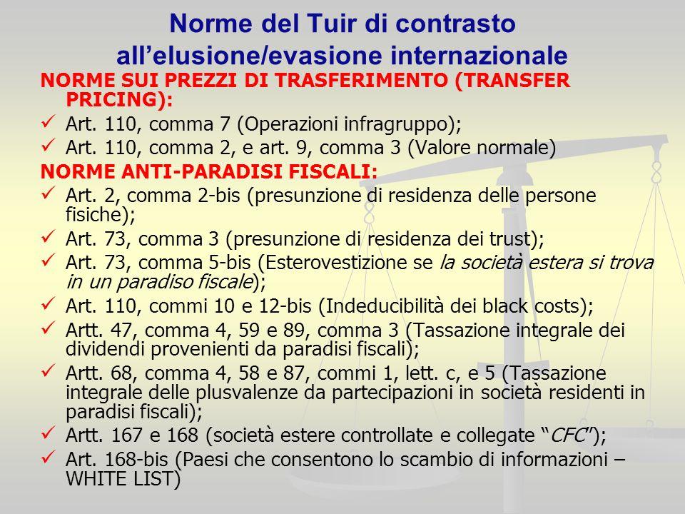 Norme del Tuir di contrasto allelusione/evasione internazionale NORME SUI PREZZI DI TRASFERIMENTO (TRANSFER PRICING): Art.