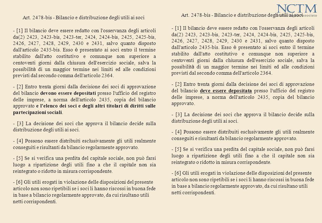 Art. 2478-bis - Bilancio e distribuzione degli utili ai soci - [1] Il bilancio deve essere redatto con l'osservanza degli articoli da(2) 2423, 2423-bi