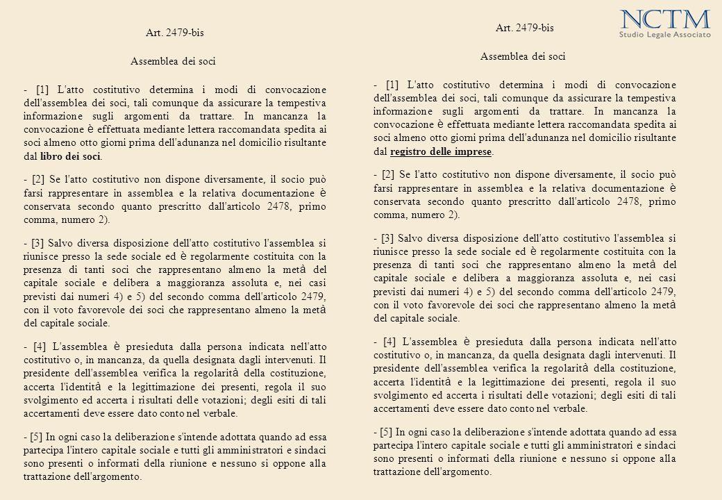 Art. 2479-bis Assemblea dei soci - [1] L'atto costitutivo determina i modi di convocazione dell'assemblea dei soci, tali comunque da assicurare la tem