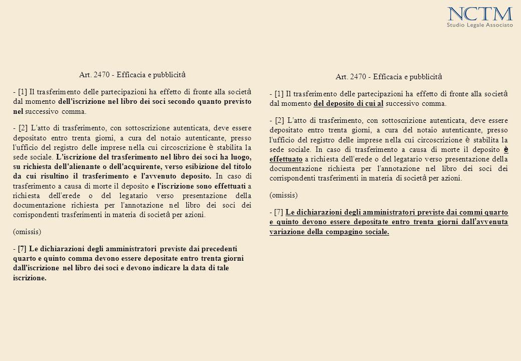 Art. 2470 - Efficacia e pubblicit à - [1] Il trasferimento delle partecipazioni ha effetto di fronte alla societ à dal momento dell'iscrizione nel lib
