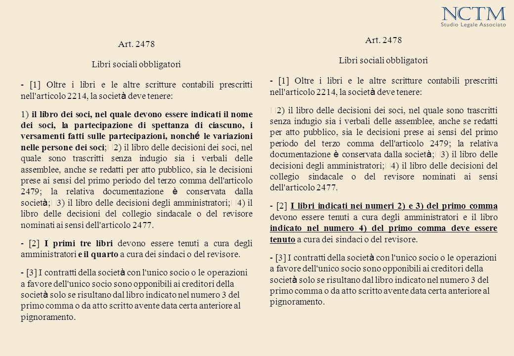 Art. 2478 Libri sociali obbligatori - [1] Oltre i libri e le altre scritture contabili prescritti nell'articolo 2214, la societ à deve tenere: 2) il l